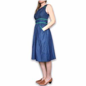 eShakti 8/M Chambray Banded Empire Waist Dress
